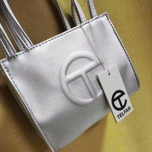 Telfar Small Silver Shopping Bag